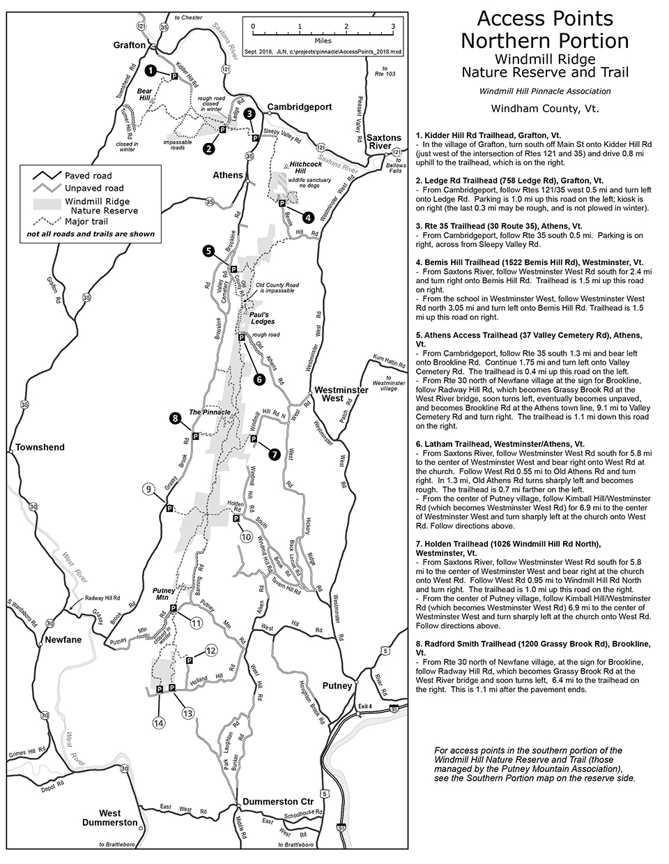 Windmill Hill Pinnacle Association Access Points Map - North Section