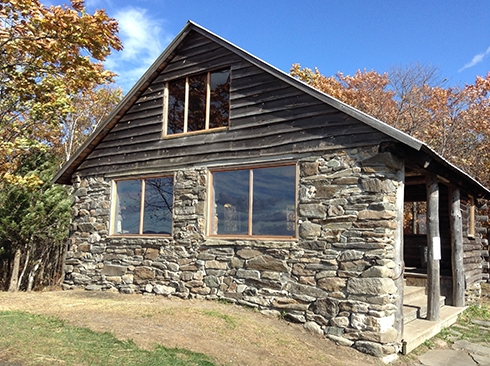 The Pinnacle Cabin, renovated in 2016, showing its new west wall and windows